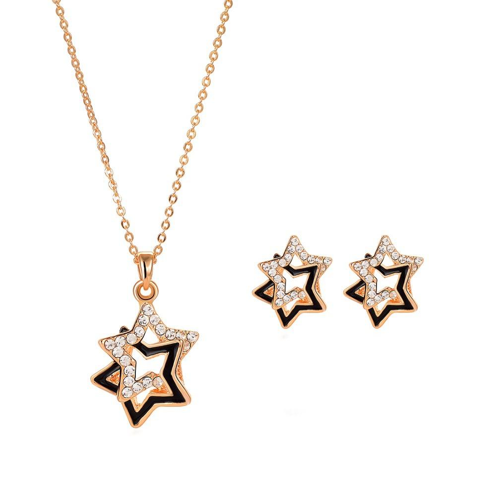 2018 Gold Plated Jewelry Set Double Stars Design Pendant Necklace ...