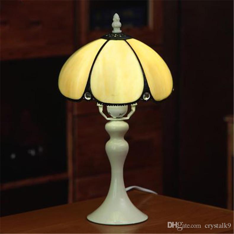 Europe Retro Glass Table Lamps Vintage European Luxurious Classical Color Glass Brown Desk Lamp Bedroom Bedside Light Dia 20cm
