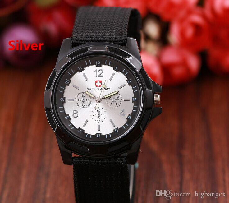 Luxury Gemius Army Military watch Analog Nylon band Watches TRENDY SPORT Outdoor Fabric Knight Wristwatch for MEN Gift