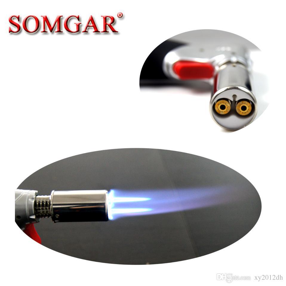 XY011316 Cocina 1300 C Metal butano doble antorcha encendedor soldador soldadura fuerte Soldadura grande soldadura gas butano recargable encendedor