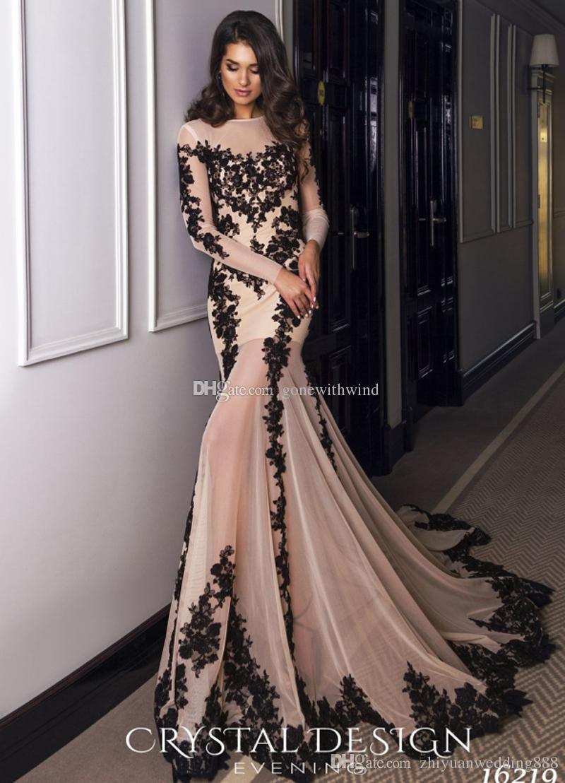 Black Lace Long Sleeved Mermaid Evening Dresses 2018 Crystal Design ...