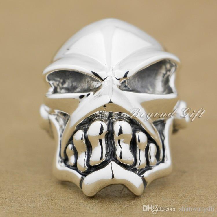 925 Sterling Silver Huge & Heavy Skull Mens Biker Rocker Ring 9Q010 US Size 8~14