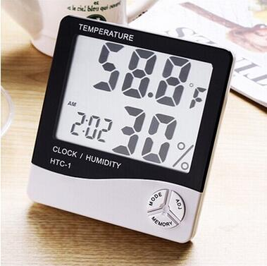 LCD-Digital-Temperatur-Feuchtigkeits-Meter-Thermometer-Hygrometer-Uhr 10% ~ 99% RH geben Verschiffen frei