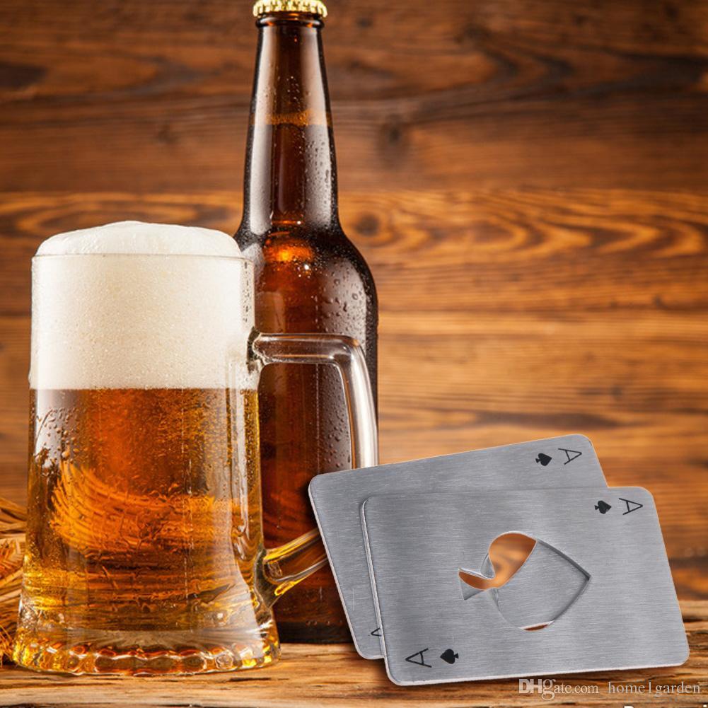 스테인레스 스틸 맥주 병따개 스페이드 부지깽이 카드 모양 막대 도구 지갑 실버 색상을 가지고 다니기 쉬운