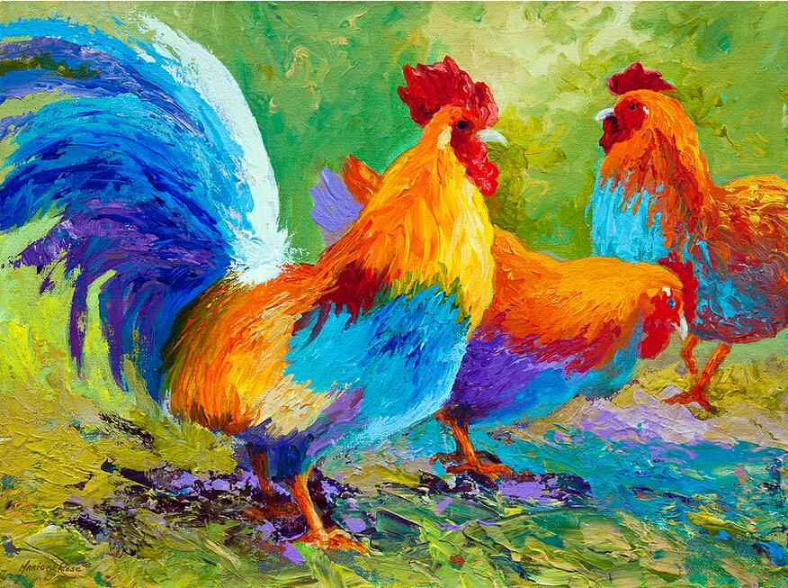 Giclee Three cocks color study oil painting arts and canvas wall decoration art Oil Painting on Canvas