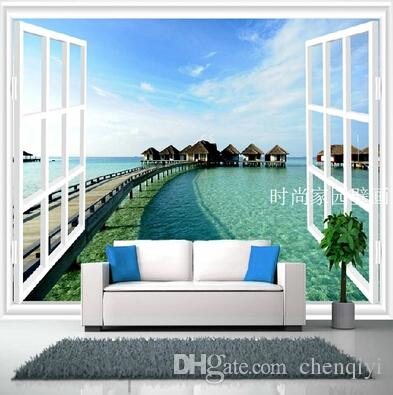 New Can Custom Made Large 3D Mural Art Wallpaper Home Decor Personality Visualexpand Urban Space Non Woven Fabric Wallsticker Island Window
