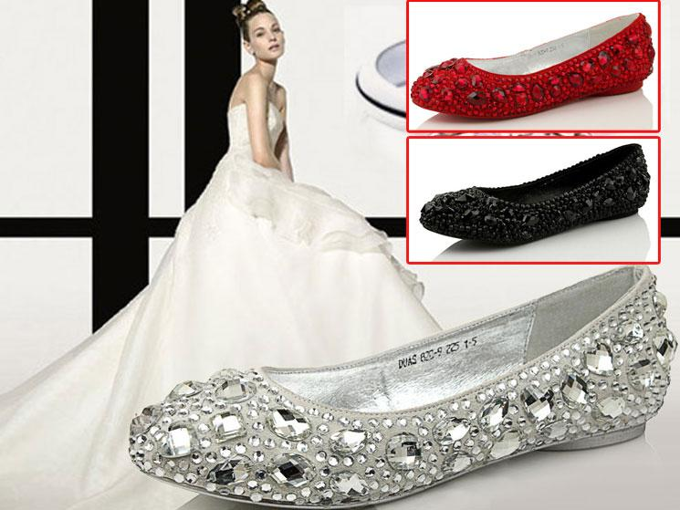 Mother Of The Bride Shoes And Accessories: 2016 Flats Comfortable Wedding Shoes Crystal Diamond Shoes