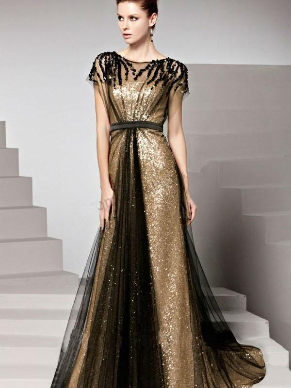 Gold Sequin Black Tulle Long Evening Dresses Cap Sleeves Beaded A