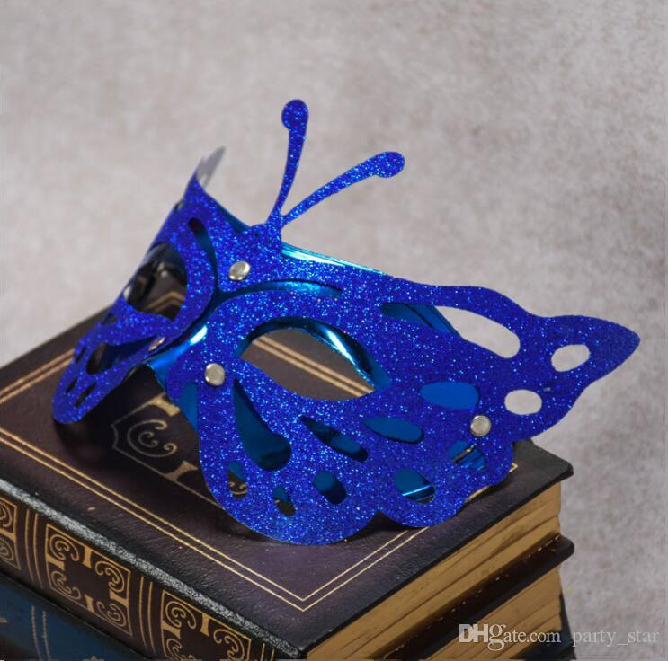 Yeni Moda Altın Tozu Kelebek Şekli Masquerade Maskeleri Yarım Yüz PVC Karnaval Maskeleri Bar Kulübü Parti Dekorasyon Yüz Maskeleri