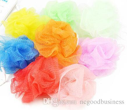 Comercio al por mayor 10 unids cuerpo de la ducha de baño exfoliar Puff esponja de malla Net Candy Colors esponja de malla suave cepillo de baño esponjas depuradoras populares