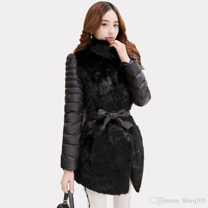 f4f368e7 2019 New Black Gray Rabbit Fur Parka Coat For Women Slim Fit Stand Collar  Down Jacket Ladies Warm Winter Overcoat Casaco Plus Size MGG1111 From  Hhwq105, ...
