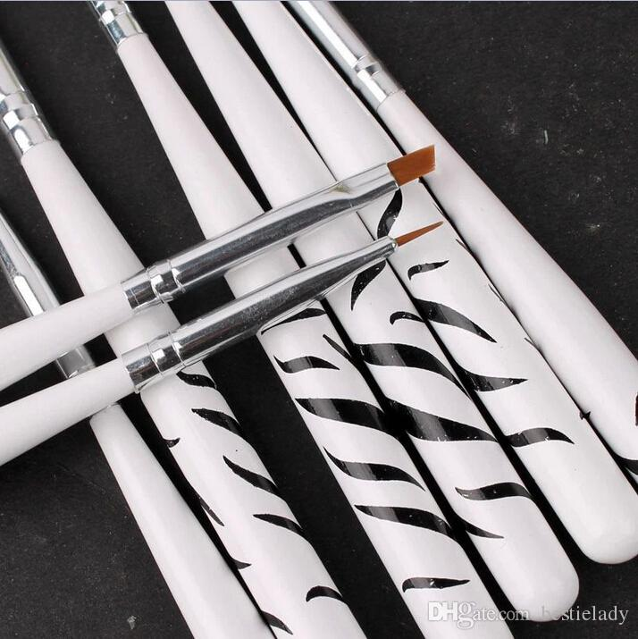 Professional White Zebra-Stripe Nail Art Painting Brush Dotting Pen ...