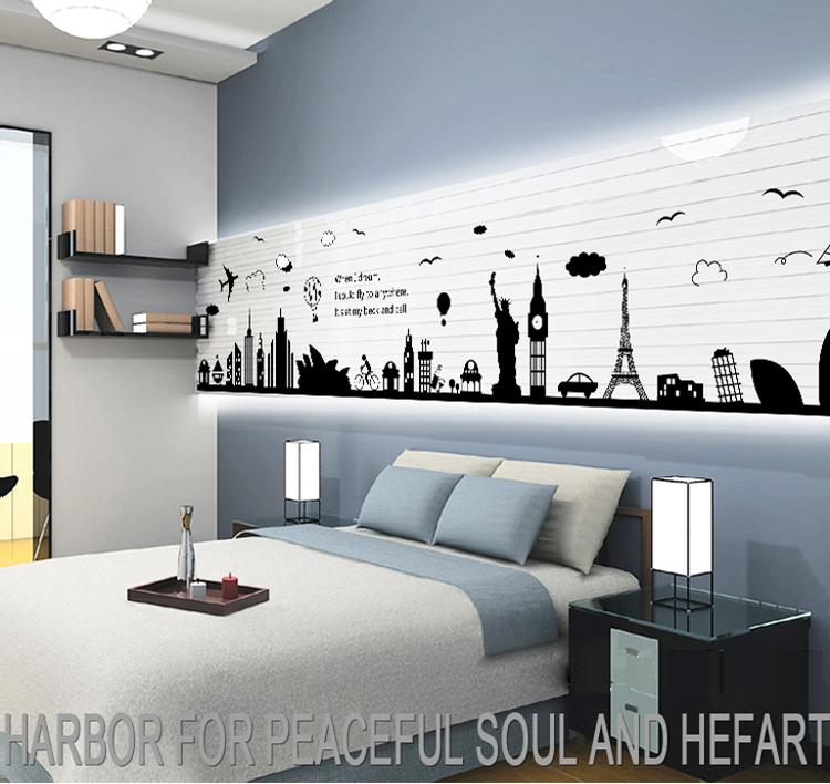 world map wall sticker black vinyl london paris world famous travel
