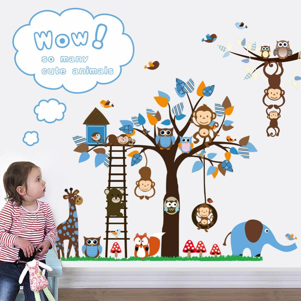 Cartoon Monkey Tree Stickers Zooyoo1215 Nursery Wall Decal Animal Wall  Sticker Baby Room Decor Owl Giraffe Alphabet Wall Stickers Appliques For  Walls From ... Part 50