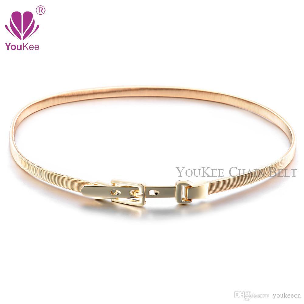 Gold Elastic Chain Belts For Women Designer Belts Female Silver ...