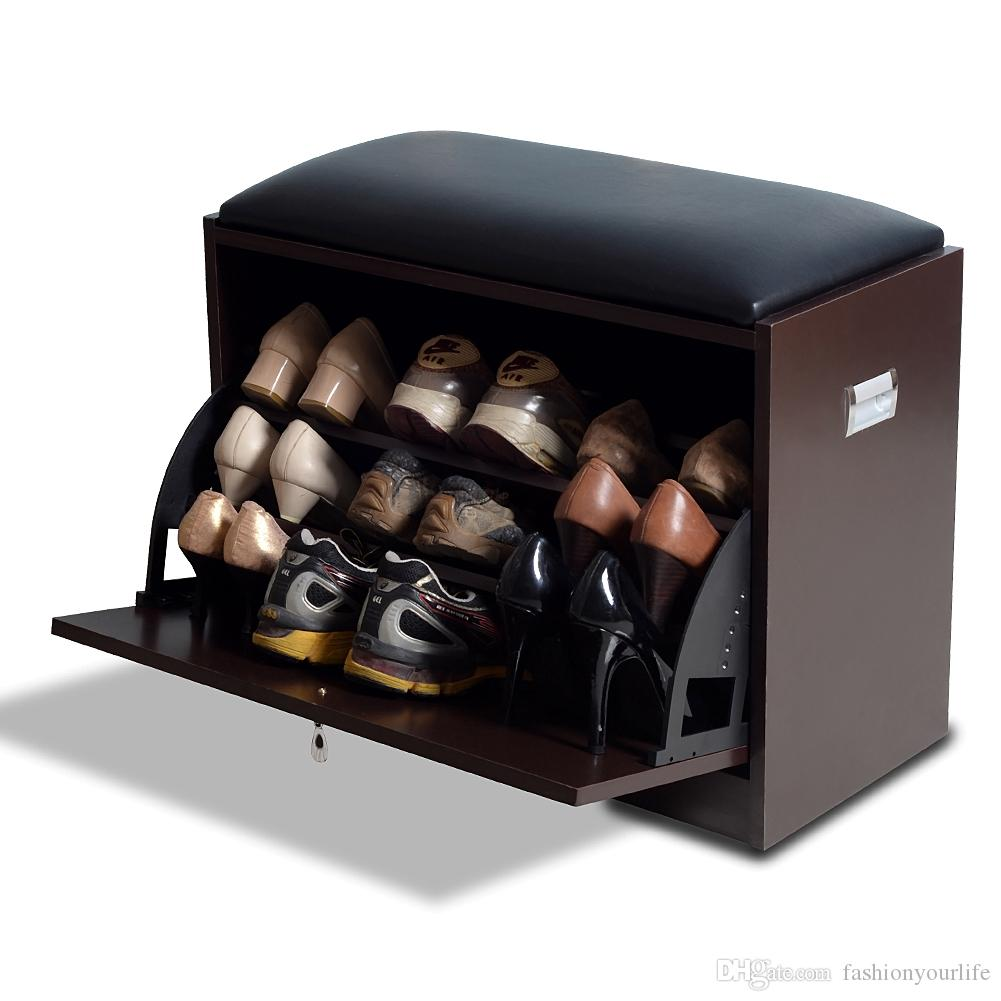2019 Wood Shoe Cabinet Shoe Rack With Seat Living Room Storage Chest