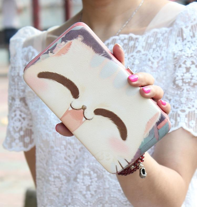 Lady Handbag Series Lovely big face cat hand-painted bag carry mobile phone bag lunch box package lady handbag long wallet