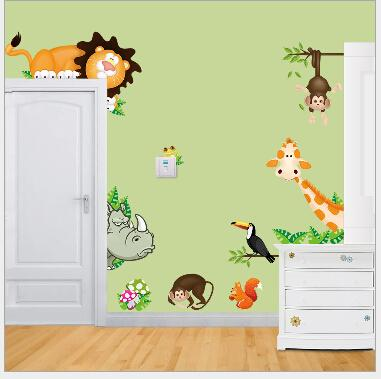 Nursery School Cartoon Animal 3D Wall Stickers Children Room ...