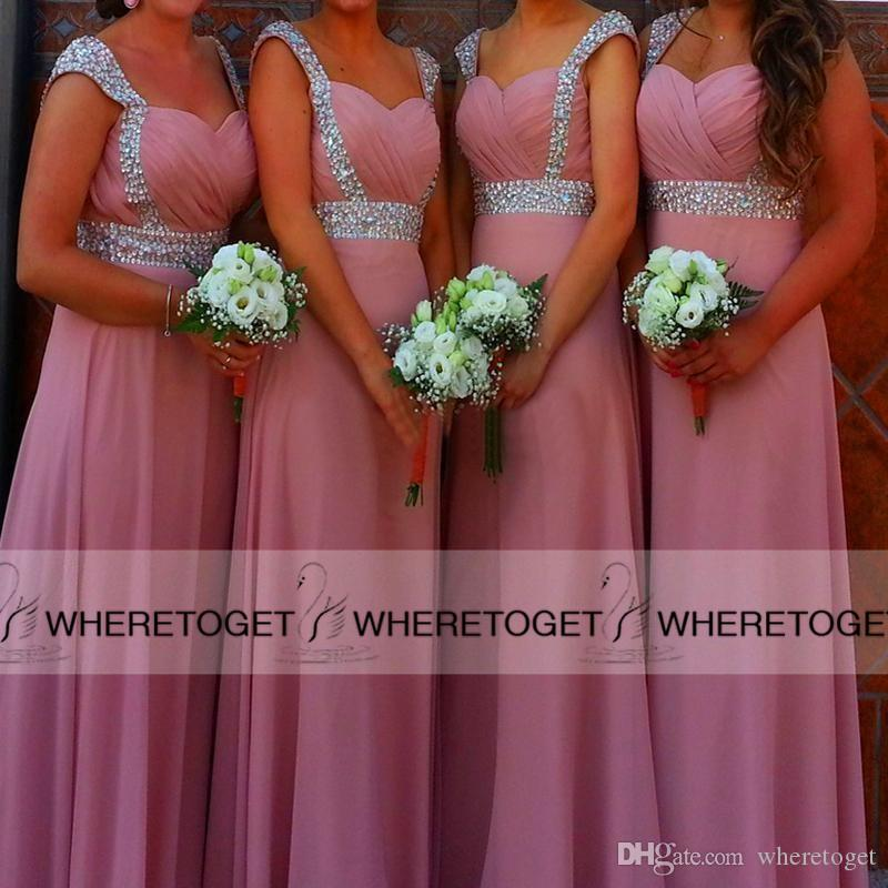 2019 Pink Chiffon Bridesmaid Dresses Beaded Crystal Ruched Sweetheart A-line Floor-length Maid of Honor Gowns Prom Dresses Cheap