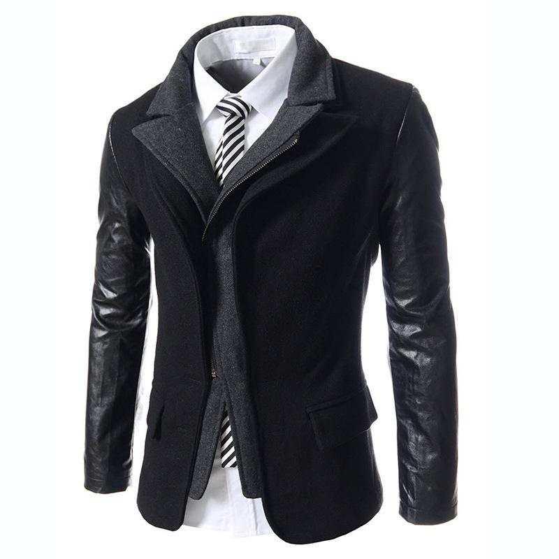 Acquista All ingrosso Cappotti Di Lana Uomo Patchowork Casual Gothic  Abbigliamento Uomo Doppio Collo Giacca Giacche Stile Uomo Inverno Nero  Trench F0052 A ... 58d8273bff9