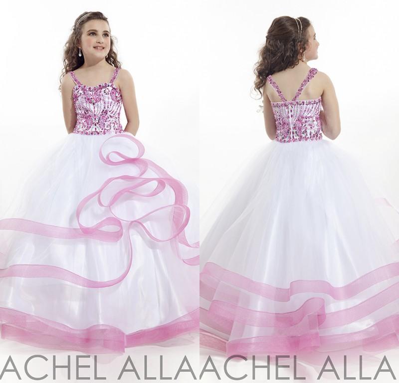 Beauty Little Girls Glitz Pageant Dresses Princess Tulle Spaghetti Crystal  Beads Fuchsia And White Kids Flower Girl Dresses DL1313774 Girls Spring  Dresses ... 0e3d71e207e2