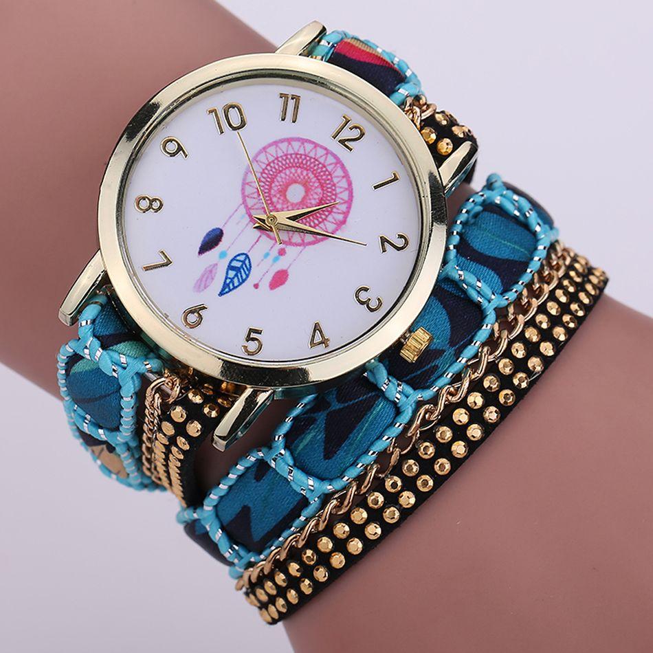 2016 fashion women bracelets watch ladies dress Dreamcatcher rivets leather chain wrist watch Creative quartz watches for women