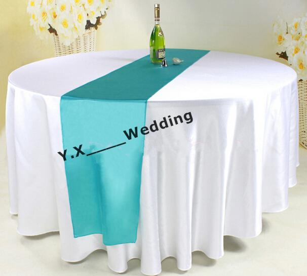 108 Round Diameter White Satin Table Cloth With Turquoise Color Satin Table  Runner Table Cloth Satin Table Cloth Wedding Table Cloth Online With ...