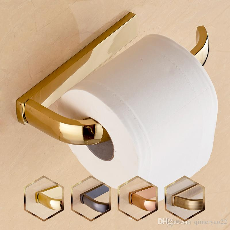 2018 Full Copper Toilet Roll Holder European Paper Towel Rack Antique Holders Bathroom Rose Gold Black From Qimeiyao22