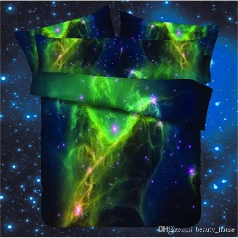 3D Coloré Planètes Purple Sky Hommes Garçons Chaud Hiver Ensemble de Literie Cadeau, Reactive Impression Housse de couette Set Home Textile Fournitures