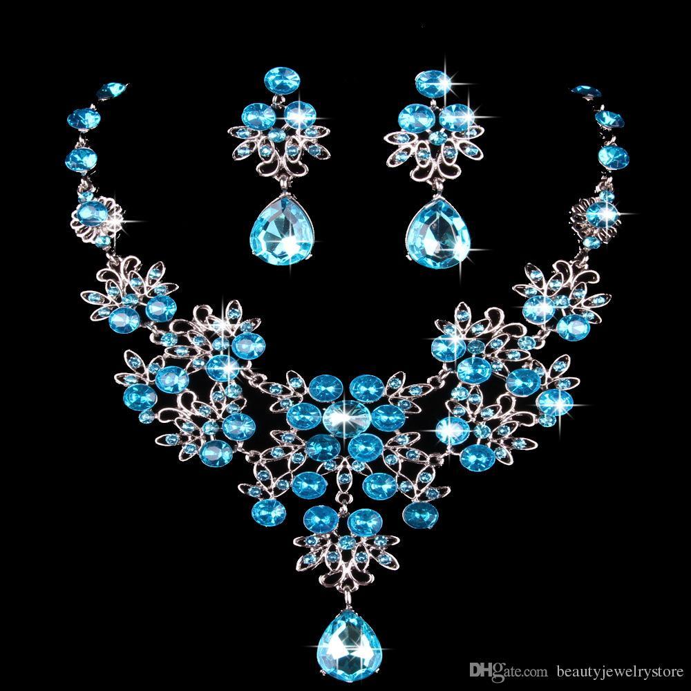 Blanc / Rouge / Bleu Royal / Violet / Bleu Strass Collier pour femmes Boucles D'oreilles Ensembles De Bijoux De Mariée Ensembles Dames Partie Accessoires