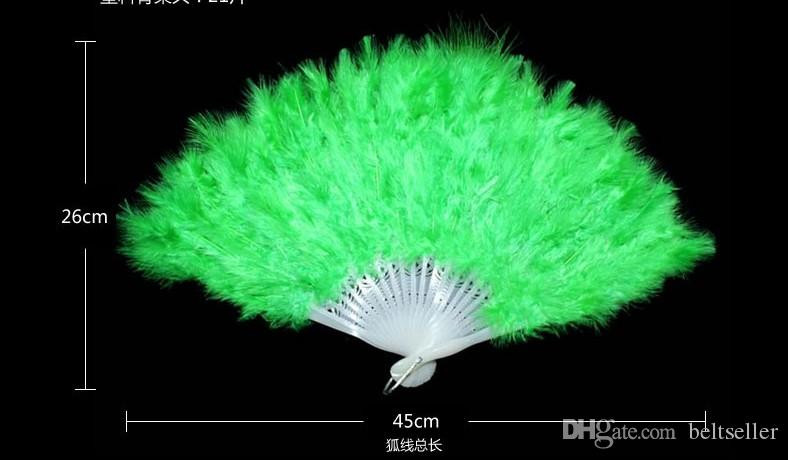 Elegant White Folding Feather Fan Halloween Party Stage Performances Craft Fans Carnival Centerpiece Supplies