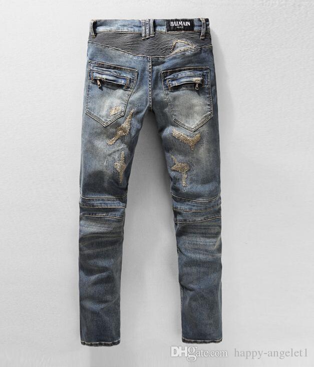 Топ-джинсы NWT BP Мужская модная подиум Distroyed Проблемные узкие эластичные байкерские джинсы Размер 28-38 # 0905