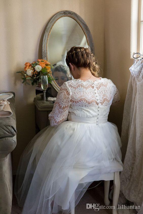 Mooie korte kant bruidsjurken half lange mouwen kalf thee lengte plus size trouwjurken juweel tiered rokken strand bruidsjurken eenvoudig