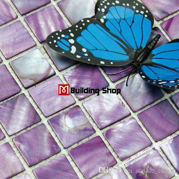 Purple Shell Mosaic Mother Of Pearl Tile Kitchen Backsplash Mop047 - Purple-mosaic-bathroom-tiles