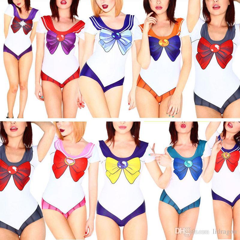 0a0d0b24de 2019 2015 Women S Sexy Bikini Swimsuit Cosplay Sailor Moon Print Costume  Bikini Underwear Swimwear New Anime Sailor Moon One Piece Swimsuit From  Lidragon