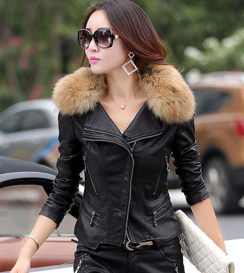 Real Fur Collar Leather Jacket Women Coat Female Outerwear 2015 ...