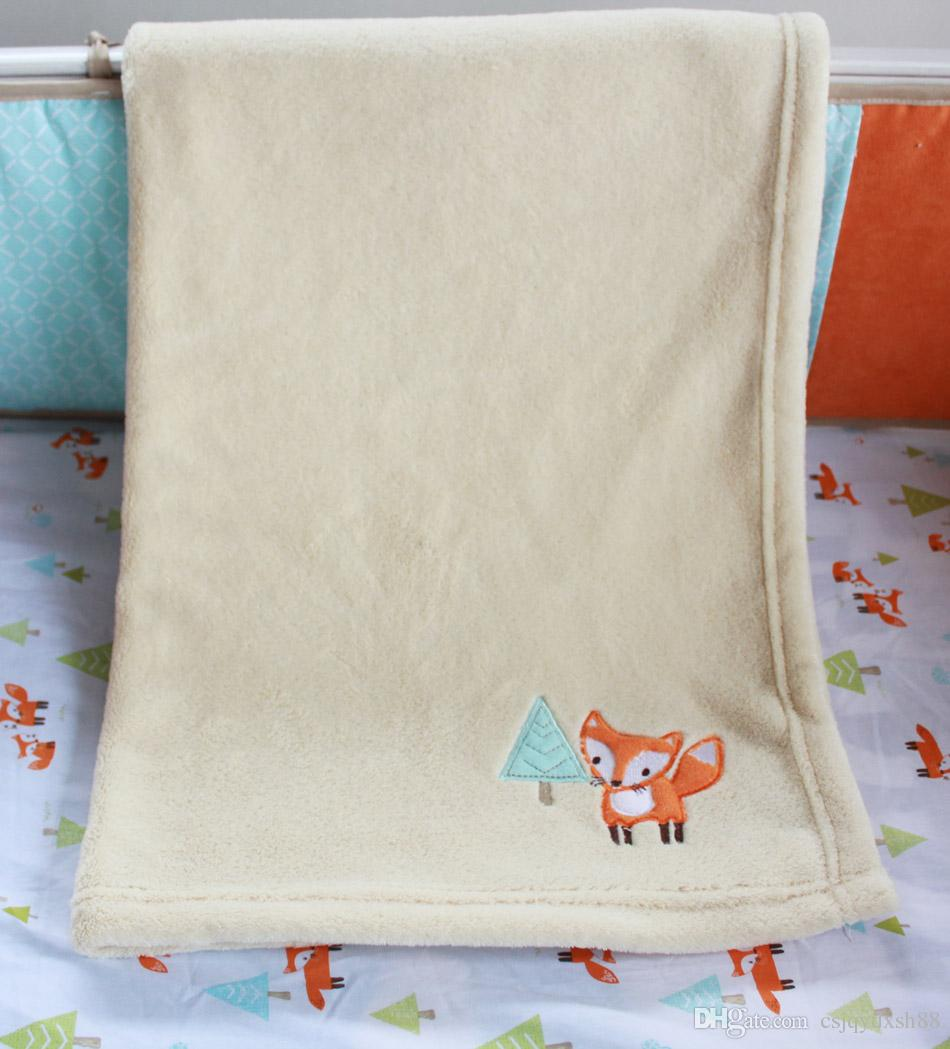Embroidery 3D prairie fox Baby bedding set 100% cotton Baby crib bedding set Early education bedskirt quilt bumper Fitted