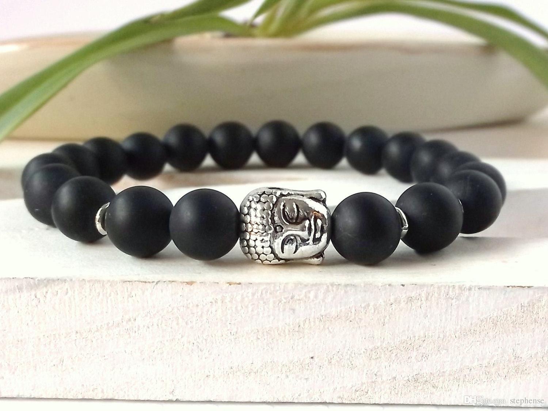 SN0263 Natuursteen Bead Boeddha Armbanden Zilveren Boeddha Armband Yoga Spirituele Armband Lava Rock Healing Man Bracelet Gratis verzending