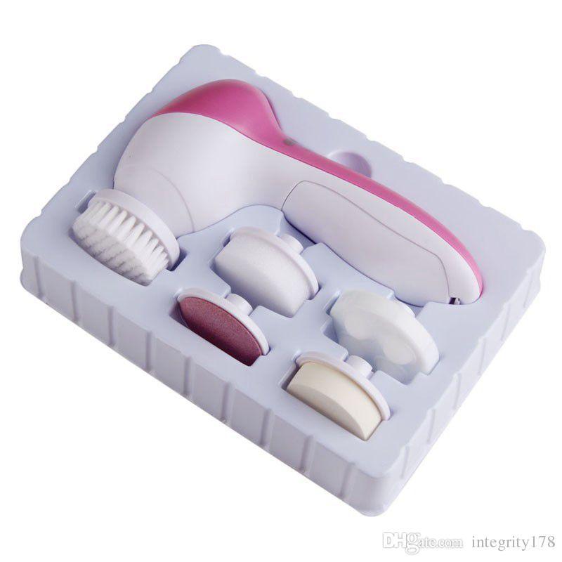 5 em 1 máquina de rosto de lavagem elétrica rosto poros limpador de acne limpeza corporal massagem mini pele beleza massageador escova
