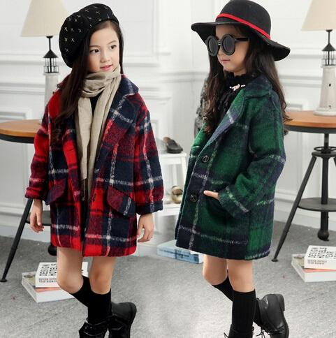 16d23c202 Korean Fashion Kids Clothes Plaid Girls Wool Coat Woolen Jacket for ...