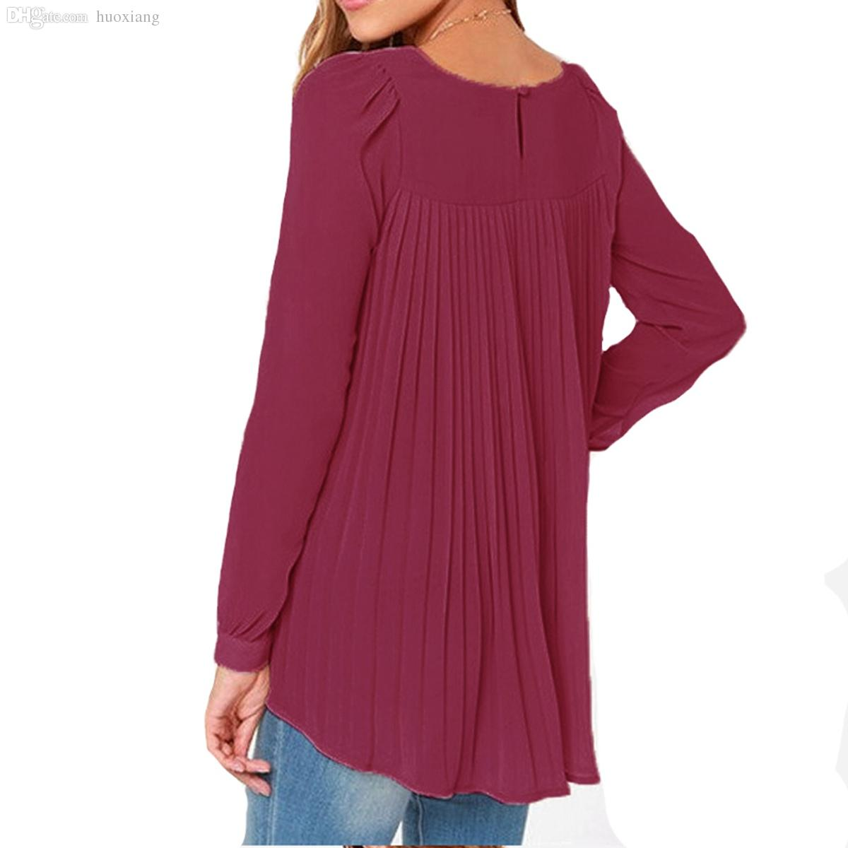 ac34c7f75d14 Wholesale-New Zanzea 2016 Summer Style Women Sexy Casual Loose Chiffon Tops Long  Sleeve Solid Shirts Ladies Blouses Plus Size Blusas Blouse Collar Blouse ...
