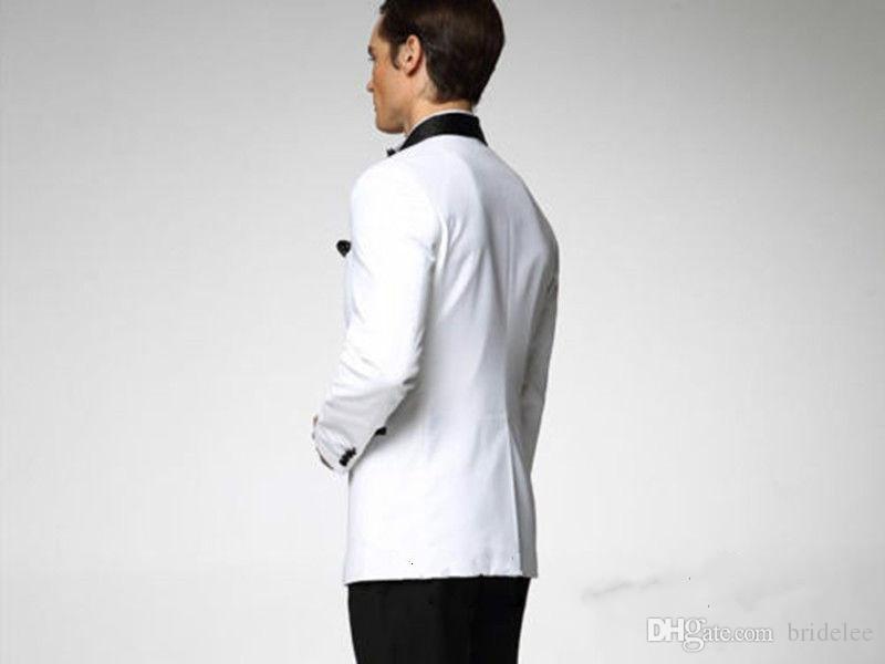 White Wedding Tuxedos For Men Man Suit Blazer And Pants Groom Tuxedos Best Man Suit Wedding Groomsman MenJacket+Pants+Tie