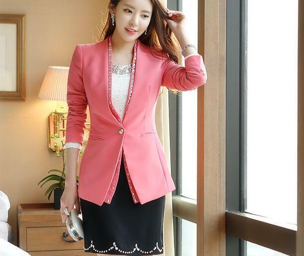 2017 Ol Woman Pink Blazer Jacket Spring And Autumn Terninho ...