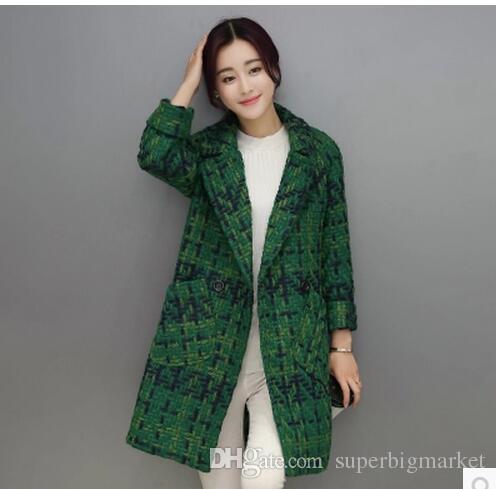 De haute qualité manteau de laine femmes mince moyen-long veste en tweed mode femme outwear manteau vert marque femmes veste