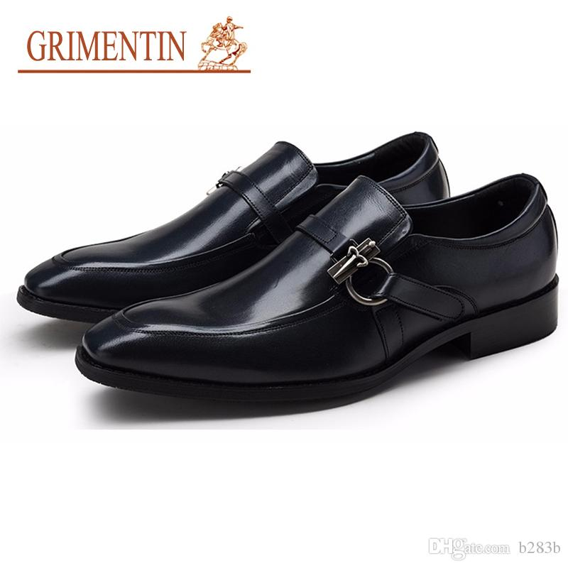 GRIMENTIN Brand Men Shoes Handmade Mens Dress Shoes Genuine Leather Top  Quality Blue Black Brown Red Men Wedding Shoes Size 38 44 2om3 Walking Shoes  Flat ... 45a6f89db820
