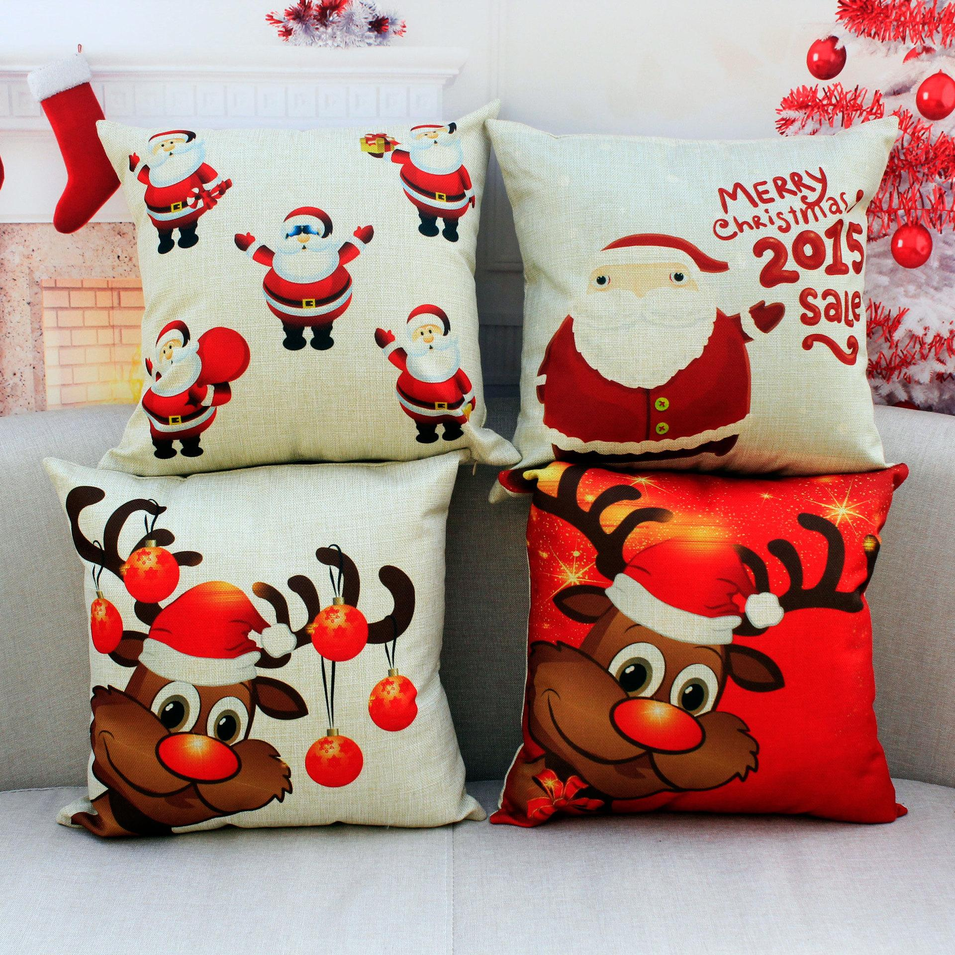 10x Christmas Throw Pillows Covers Merry Christmas Gifts To Every Home  Cotton Linen Throw Pillow Case Cushion Covers Home Sofa Decorative 18  Disposable ...
