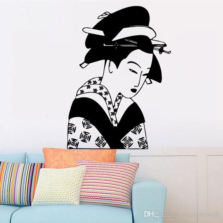 اليابانية القديمة الإناث الفن جدار صائق ملصقا اليابانية فتاة جدارية جدار زين ملصق ديكور المنزل للجدران غرفة المعيشة جدار الوشم