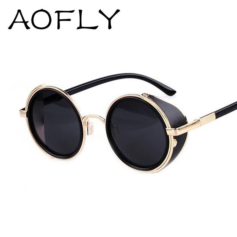 Women Goggles Designer Circle Glasses Men Retro Sun Side Round Oculos Vintage Sunglasses Visor Lens Steampunk P8Oknw0