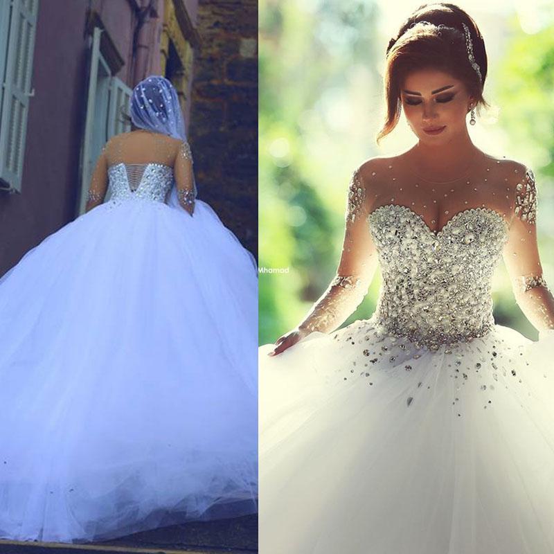 Wedding Gowns With Swarovski Crystals: 2015 Swarovski Ball Gown Wedding Dresses Backless Long