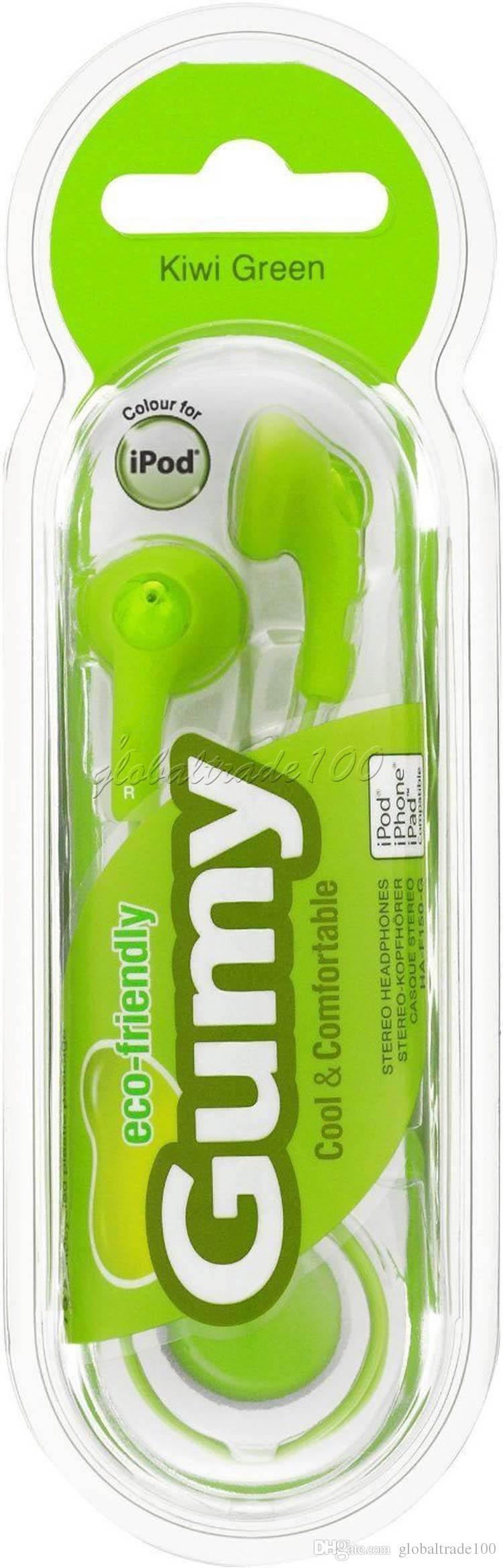 Gumy Gummy Auricular HA F150 3.5mm MP3 Auriculares Auriculares No MIC Colorido para iphone ipad ipod Samsung HTC